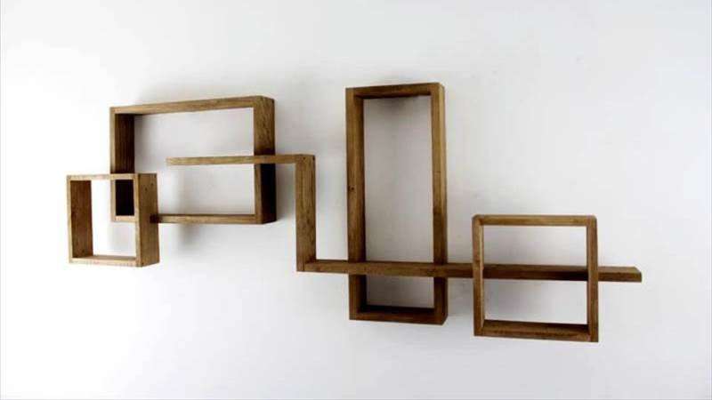 Geometric Shaped Creative Wooden Shelves Art
